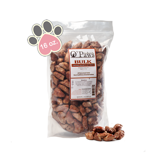 Opaws Chicken Hearts - 16oz