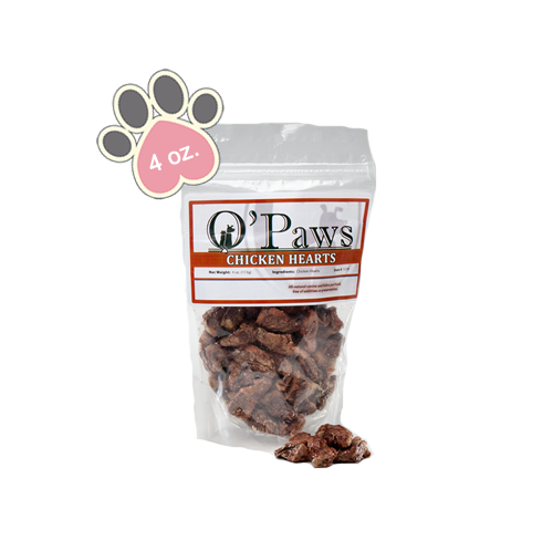 Opaws Chicken Hearts - 4oz